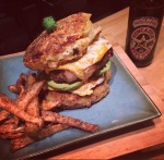 Bacon Wrapped Bison Beer Burger…with macaronibuns!